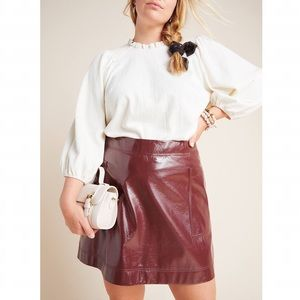 NEW Anthropologie Faux Patent Leather Skirt 16